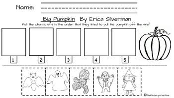 Big Pumpkin by Erica Silverman character sequence worksheet