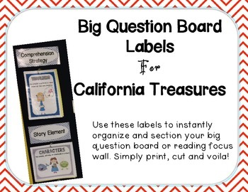 Big Question Board Labels For California Treasures RED