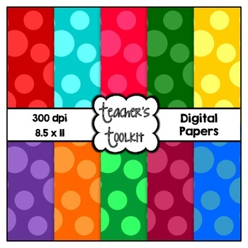 Big Spots Digital Papers {8.5 x 11} Clip Art CU OK