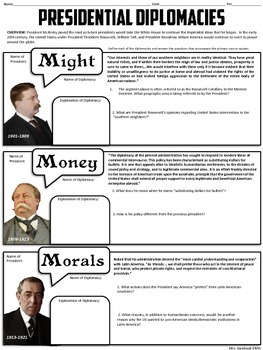 Big Stick, Dollar, & Moral Diplomacies Handout- Common Core