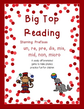Big Top Reading Starring prefixes un re pre dis mis non mi