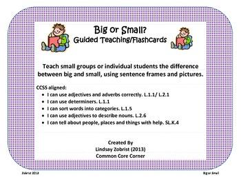 Big or Small: Kindergarten Common Core Practice Flashcards