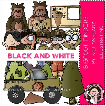 Melonheadz: Bigfoot Finders bclip art - BLACK AND WHITE