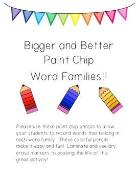 {Bigger & Better} Paint Chip Word Famlies!