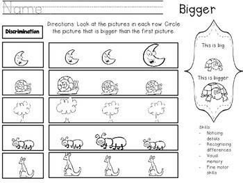 Bigger and Smaller Worksheet FREEBIE