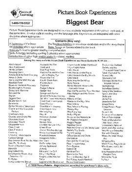 Biggest Bear Literature Activity Guide
