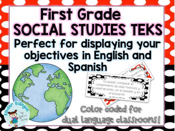 Bilingual 1st grade Math TEKS in English and Spanish
