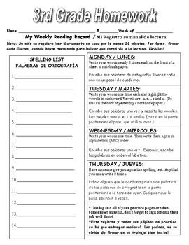 Bilingual 5 Day Homework Log 3rd Grade