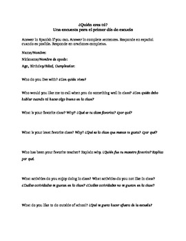 Bilingual Back to School Survey