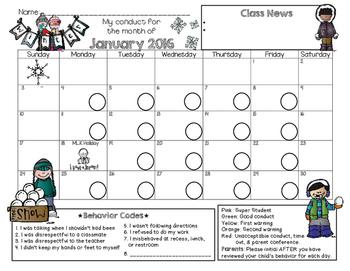 Bilingual Behavior Calendar {January 2016}