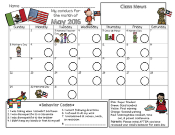 Bilingual Behavior Calendar {May 2016}