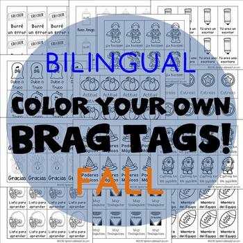 416 Bilingual Brag Tags for Fall & Halloween in English an
