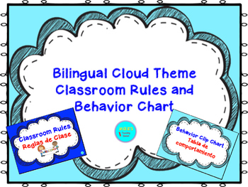 Bilingual Cloud Theme Classroom Rules and Behavior Chart