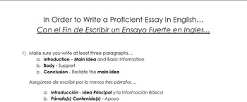 Bilingual English-Spanish Simplified Essay Process