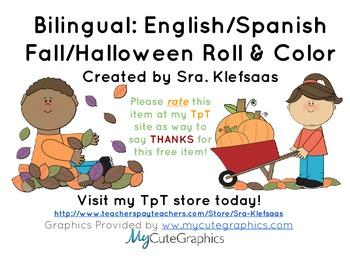 Bilingual English/Spanish Halloween/Fall Roll & Color 5+