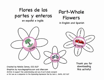 Bilingual (English/Spanish) Part Whole Flowers