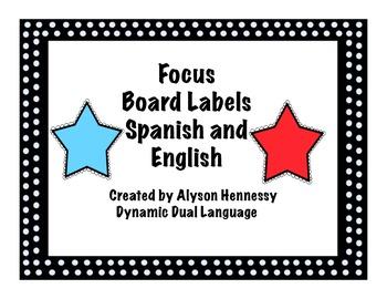 Bilingual Focus Wall labels (English/Spanish)