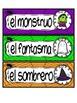 English and Spanish Halloween word wall