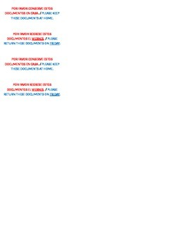 Bilingual Homework Folder Labels