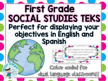 Bilingual Kindergarten Social Studies TEKS in Eng and Sp.
