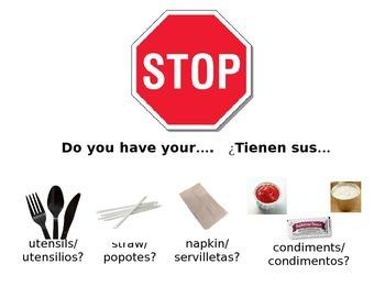 Bilingual Lunchroom stop sign