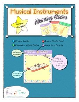 Bilingual Memory Game Musical Instruments English & Spanish