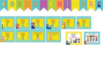 Bilingual Monster Street Classroom Helper Welcome Banner A