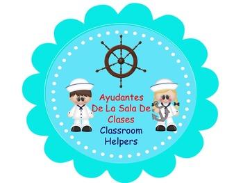 Bilingual Nautical  Classroom Helper Welcome Banner And Ta