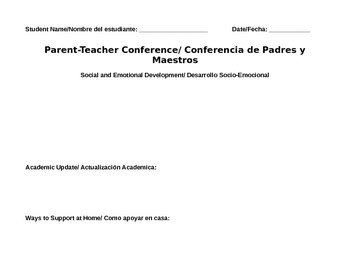 Bilingual Parent Teacher Conference Form