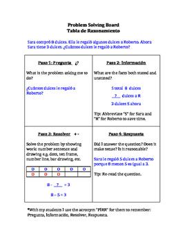 Bilingual Problem Solving Board - Tabla de Razonamiento