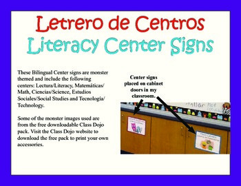 Bilingual Spanish Center Signs - Monster Themed