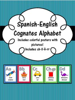 Bilingual Spanish-English Alphabet Posters Set (Cognates)