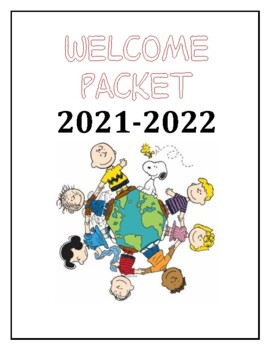 Bilingual Spanish English Welcome packet with Peanuts theme