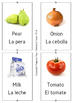 Bilingual Spanish-English food flash cards printable