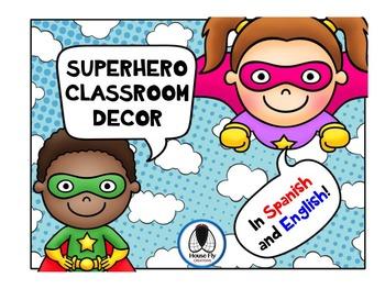 Bilingual (Spanish and English) Superhero Classroom Decor