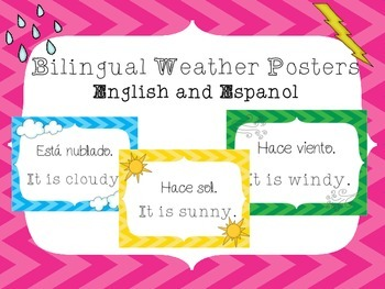 Bilingual Weather Posters - ENGLISH and ESPAÑOL - El Tiempo