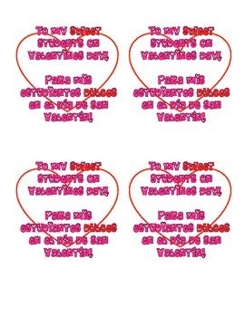 Bilingual valentines to students | Cartas bilingües para e