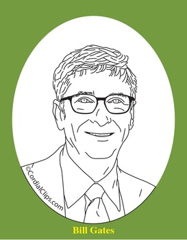Bill Gates Clip Art, Coloring Page, or Mini-Poster