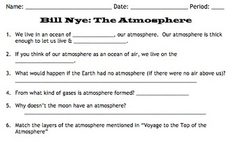 Bill Nye Atmosphere Video Worksheet