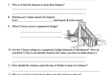 Printables Balanced And Unbalanced Forces Worksheet bill nye balance video worksheet balanced and by mayberry in unbalanced forces