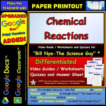Printables Chemical Reactions Worksheet bill nye chemical reactions worksheet by star materials answer sheet a