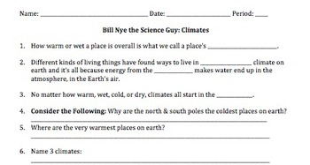 Bill Nye Climates Video Worksheet