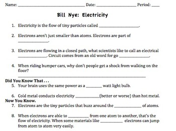 Printables Bill Nye The Science Guy Worksheets bill nye electricity video worksheet by mayberry in montana worksheet