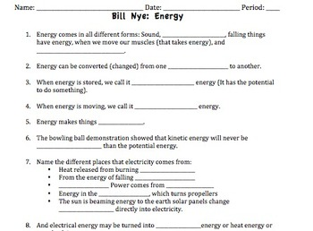 Printables Bill Nye The Science Guy Worksheets bill nye energy video worksheet by mayberry in montana teachers worksheet