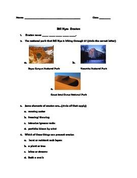 Bill Nye Erosion Video Worksheet