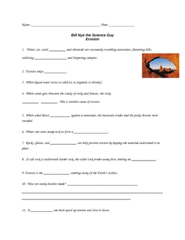 "Bill Nye - Erosion ??"" Worksheet, Answer Sheet, and Two Quizzes ..."