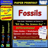 Bill Nye - Fossils – Worksheet, Answer Sheet, and Two Quizzes.