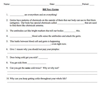 Printables Bill Nye Cells Worksheet bill nye germs video worksheet immune system by mayberry in system