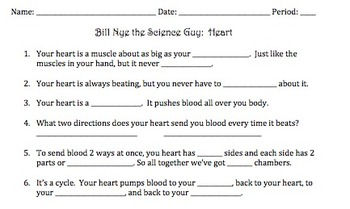 Bill Nye Heart Video Worksheet