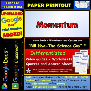 Worksheets Momentum Worksheet Answer Key bill nye momentum a worksheet two quizzes by star and an answ